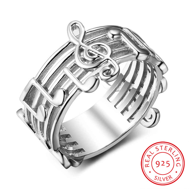 925 Sterling Sliver Rings For Women Musical Note Pattern Rings For