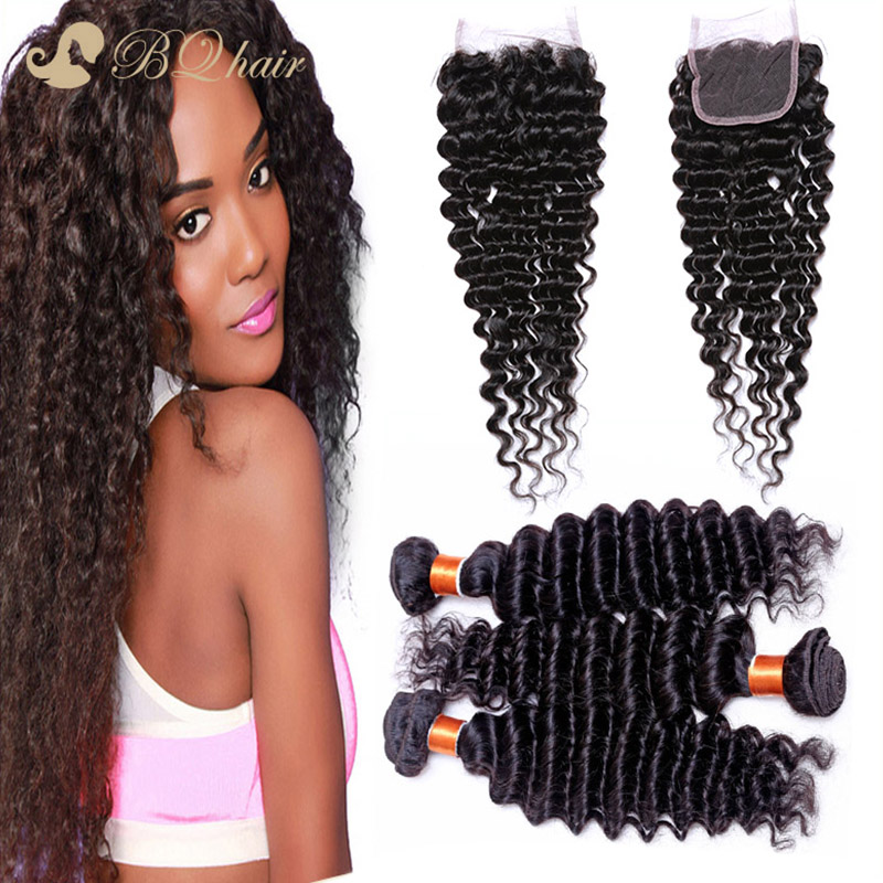 Brazilian Deep Wave Hair 3 Bundles With Lace Closure 8A unprocessed brazilian virgin human hair weaves