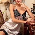 2016 Novo Estilo Sexy Mulheres Camisola de Decote Em V de Verão Pijamas Night Dress Lace Hem Mulheres Nightie Robe Roupa Em Casa Camisola