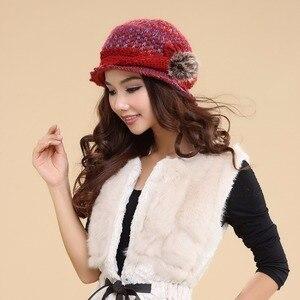 Image 2 - Charles perra chapéus femininos inverno engrossar dupla camada térmica chapéu de malha artesanal elegante senhora casual gorros de lã 3538