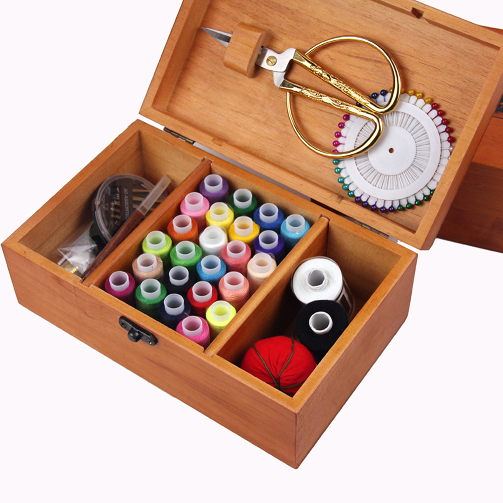 4cf1f163f Retro Wooden Sewing Box Sewing Kit with Sewing Accessories for Camping Home  Kids Travel Emergency-in Storage Boxes & Bins from Home & Garden on ...