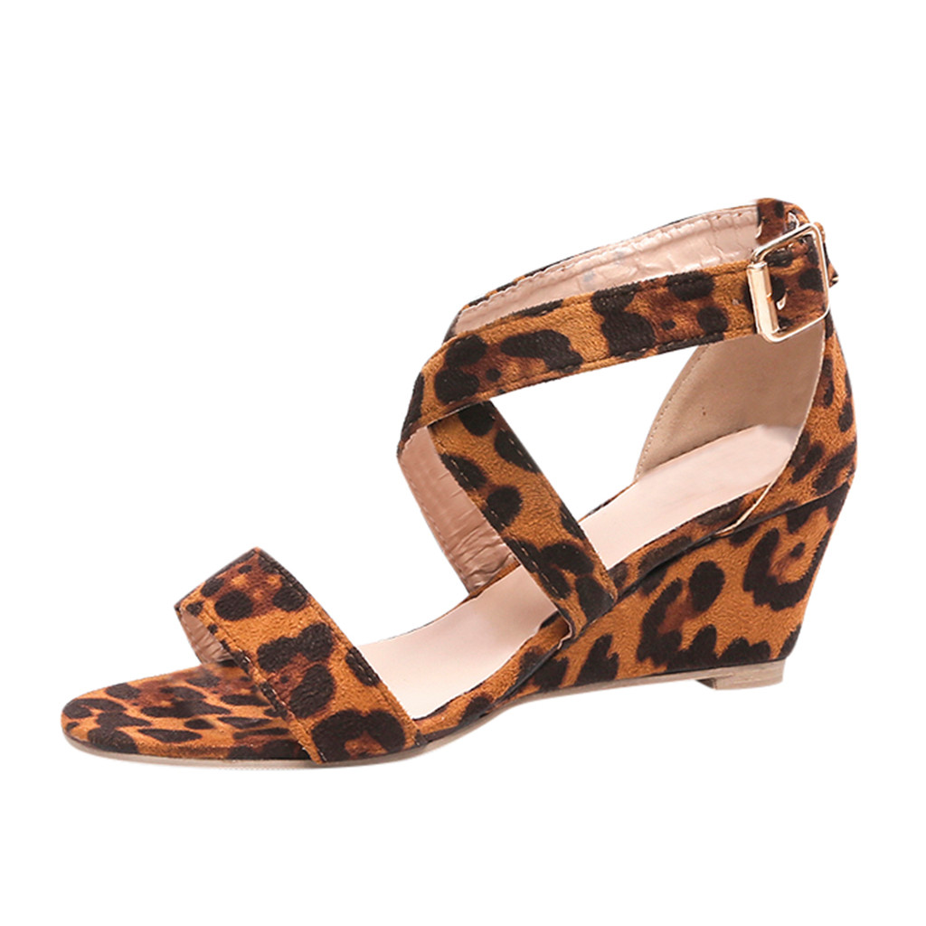 SAGACE Wedges Heel Sandals Shoes Buckle-Strap Open-Toe Outdoor Casual Fashion Women's