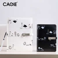 Cagie 2016 Custom Creative Trends Black White Painting Notebook A5 Spiral Business Planner Daily Memos Cute