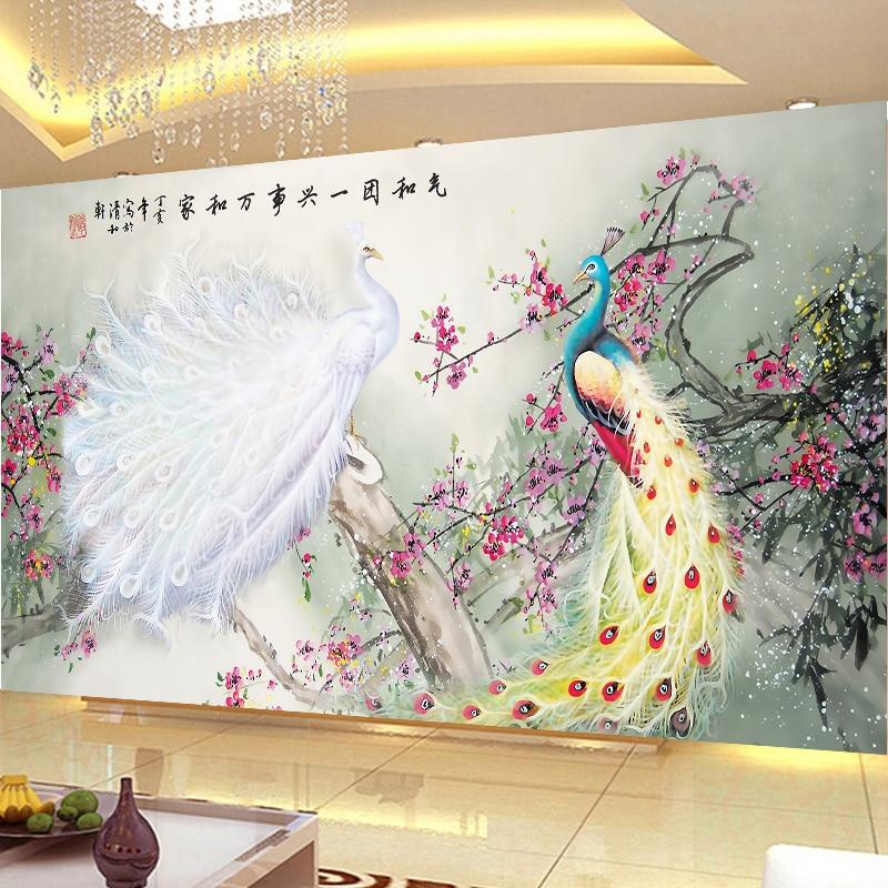 Couture, point de croix couleur DMC, kit de broderie complet, motif imprimé paon oiseau fleur riche point de croix peinture cadeau de mariage - 3
