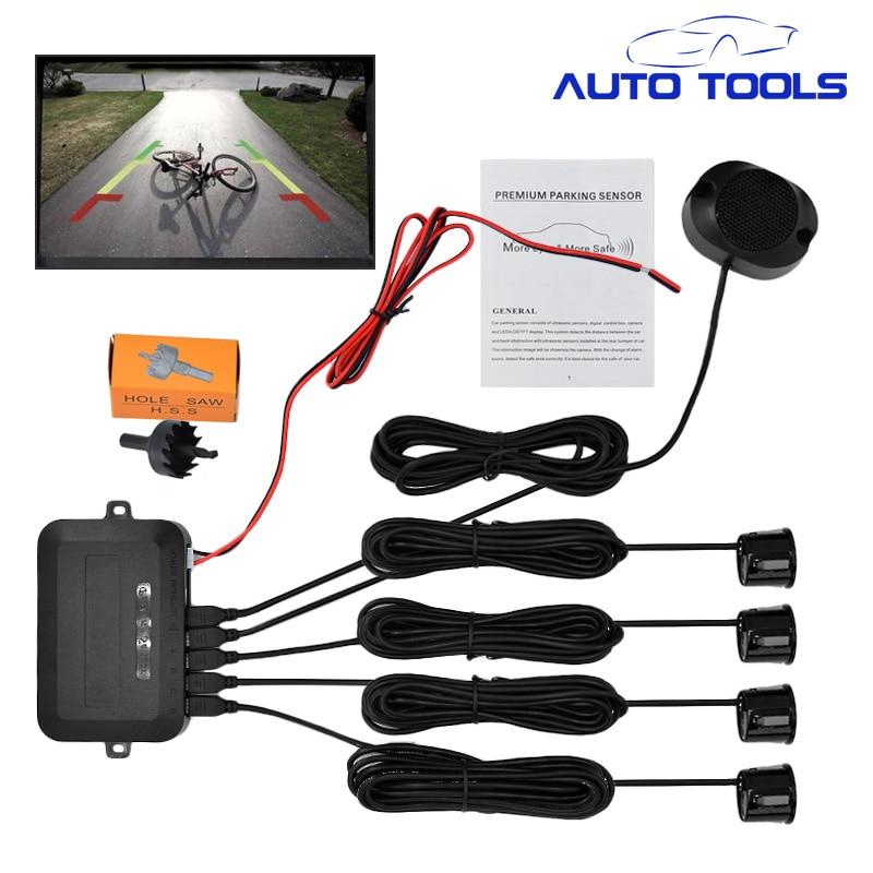 4 Parking Sensors Buzzer 22mm Car Parking Sensor Kit Reverse Backup Radar Sound Alert Indicator Probe System 12V car styling