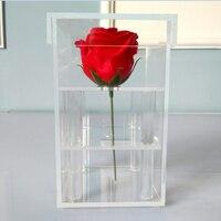 רוז פרח אקריליק שקוף קופסא אחסון תיבת פרח נייר תווית אריזת קרטון בתוספת קצף תיבת מתנה עבור בנות