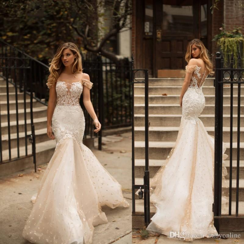 2019 Lace Mermaid Wedding Dresses Sexy Backless Applique