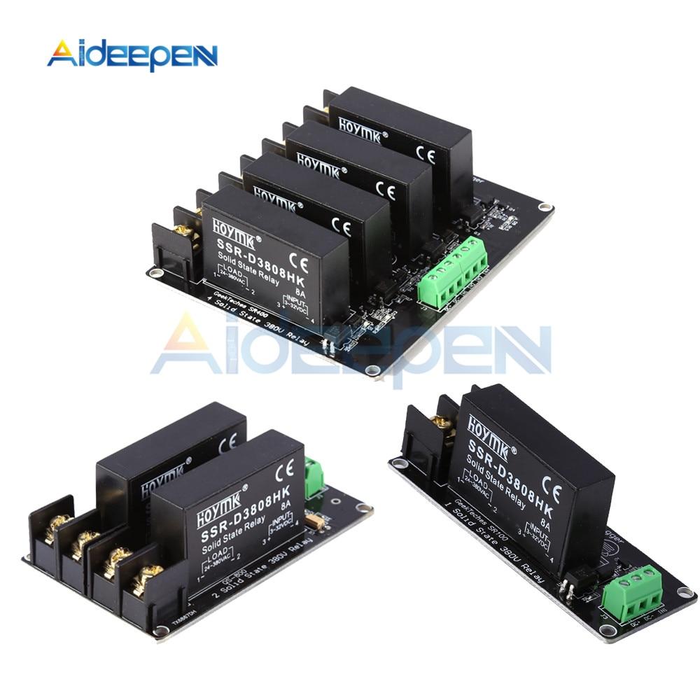380V 8A 1 2 4 канала твердотельные реле Модуль высокого и низкого уровня H-L триггера доска SSR-D3808HK переключатель контроллер для Arduino