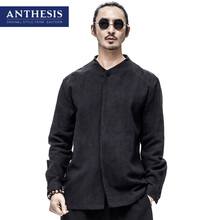 Anthesis linen shirt male long-sleeve shirt spring eastern style men's clothing fluid solid color shirt male