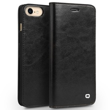 For iPhone 7 4.7 inch Leather Cases QIALINO Genuine Leather Card Slots Crazy Horse Grain Phone Cover Case for iPhone 7 Shell