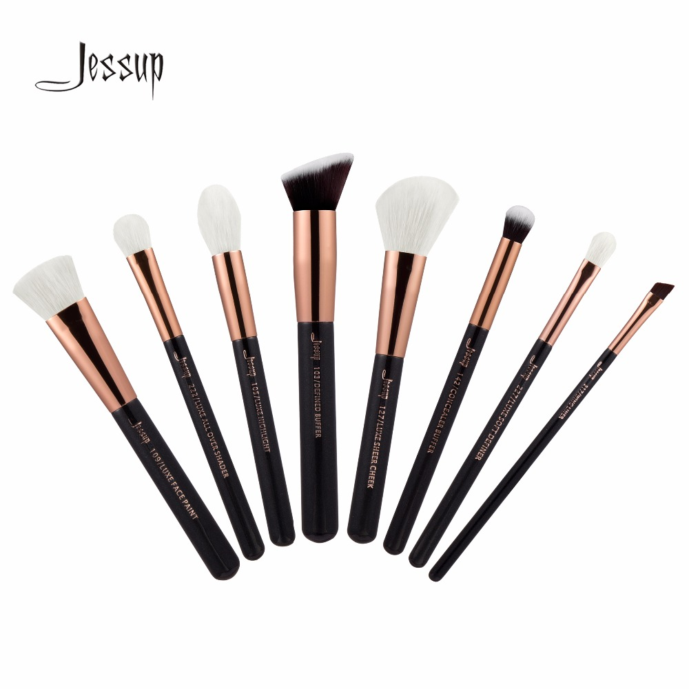 Jessup Brushes 8pcs Professional Makeup Brushes Set Makeup Brush Tools kit Buffer Paint Cheek Highlight Shader line T159 147 pcs portable professional watch repair tool kit set solid hammer spring bar remover watchmaker tools watch adjustment