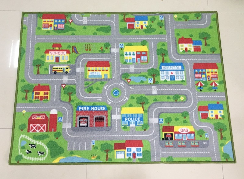 39 X 51 City Street Map Kids' Rug With Roads Kids Rug Play Mat with School Hospital Station Bank Hotel Book Store Government image