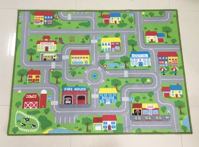X City Street Map Kids Rug With Roads Kids Rug Play Mat - Map pictures for kids