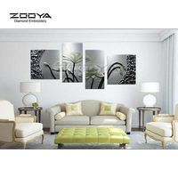 ZOOYA Diamond Embroidery 5D DIY Diamond Painting White Lotus Flower 4PCS Diamond Painting Cross Stitch Rhinestone