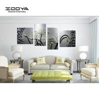 ZOOYA Diamond Embroidery 5D DIY Diamond Painting White Lotus Flower 4PCS Diamond Painting Cross Stitch Rhinestone