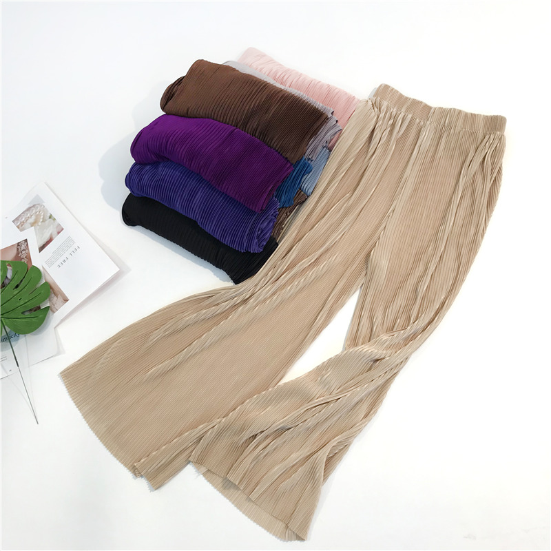 New Summer Autumn Casual Thin Chiffon   Wide     Leg     Pants   Women Elastic Waist Pleated Trousers Sweet Loose Beach Leggings Famale M476