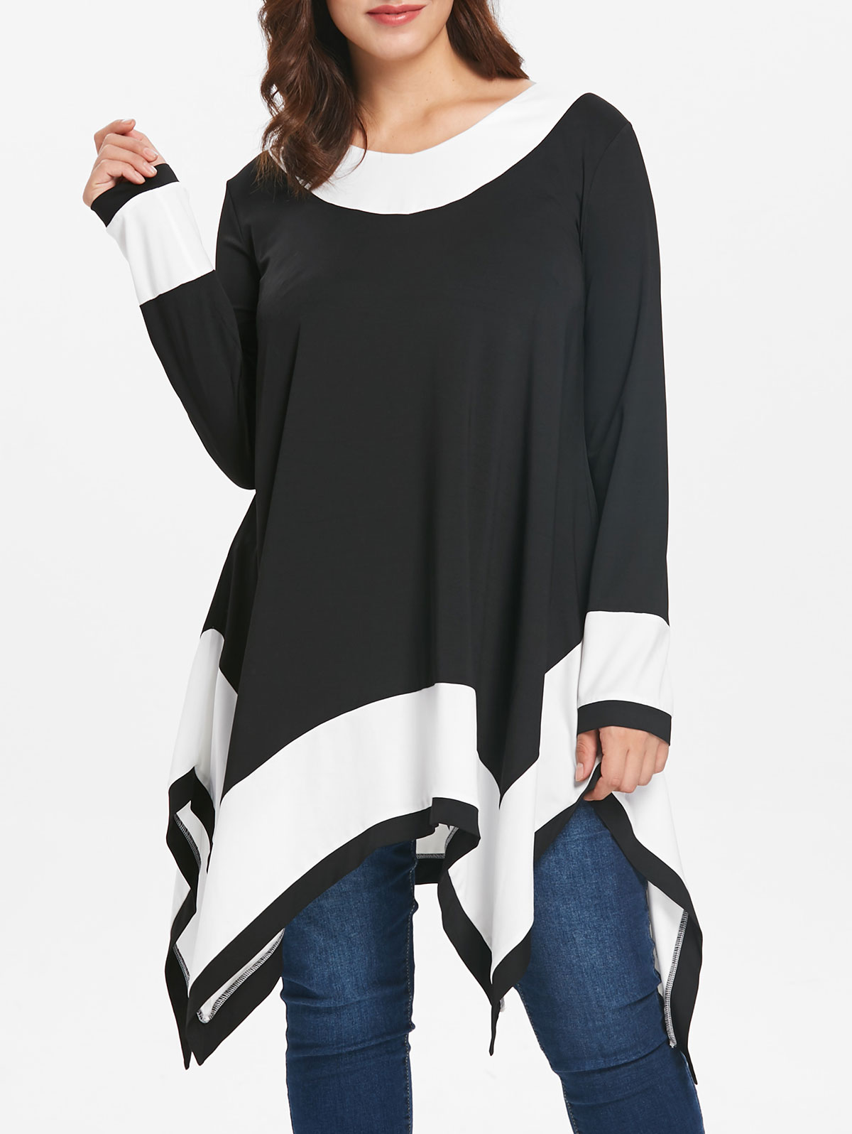 Women Plus Size Contrast Long Sleeve T-Shirt