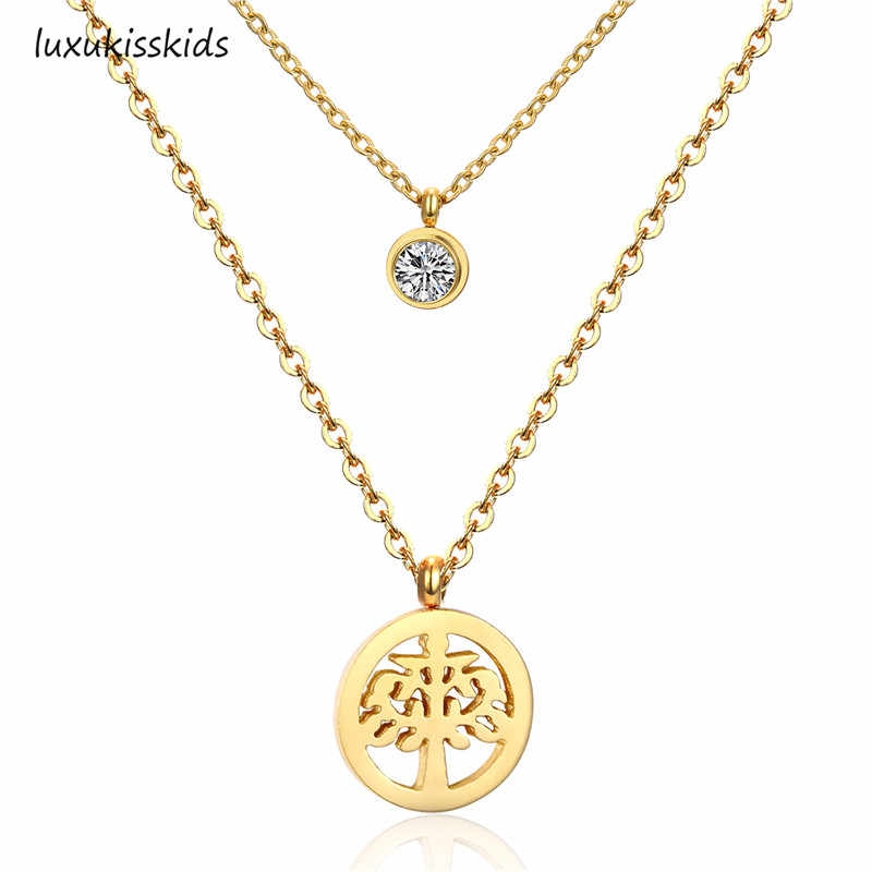 LUXUKISSKIDS 316l Stainless Steel Lemon Tree Round Pendant and Crystal Double Chain Necklace Gold/Silver Color Jewelry