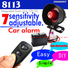 One way car alarm system easy to install Vibration aloud DIY Car accessories Adjustable sensitivity 12V DC CHADWICK 8113