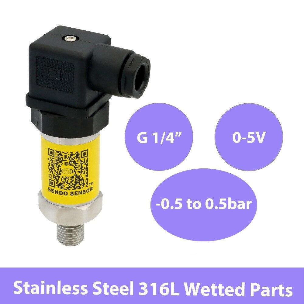 Capteurs de pression composés-0.5 à 0.5bar, transmetteur piézorésistif 0 5 V, 12V 24V 30V cc, transducteur G 1 4, pièce mouillée ss316L