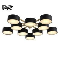 Post Modern Led Ceiling Chandelier Fixtures 5 10 Heads Black Lampshade Lustre Led Chandeliers Lights For
