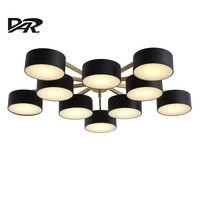 Post Modern Led Ceiling Chandelier Fixtures 5 10 Heads Black Lampshade Lustre Led Chandeliers Lights For