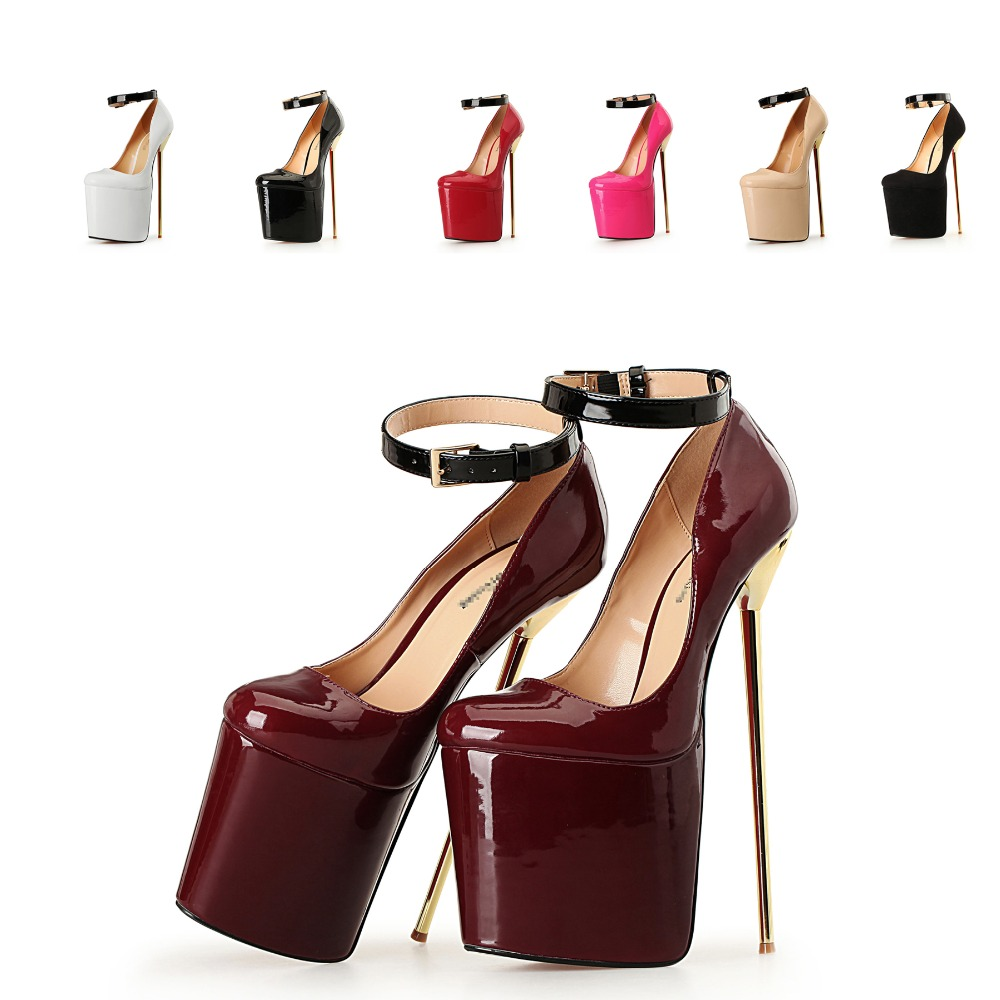 Plus size 42 43 44 45 46 47 48 49 50 women sexy patent leather ankle strap on the platform 22 cm extreme high heels pumps shoes promoitalia пировиноградный пилинг pro plus пировиноградный пилинг pro plus 50 мл 50 мл 45%