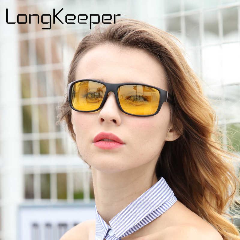 Longحارس للرؤية الليلية نظارات للمصباح الأمامي الاستقطاب القيادة النظارات الشمسية عدسات صفراء اللون UV400 حماية ليلة نظارات للسائق