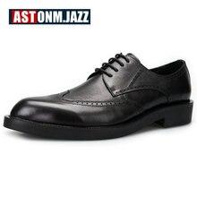Новая мужская Повседневная натуральная кожа-оксфорды на шнуровке броги круглый носок бизнес свадьба обуви Повседневная Классическая Туфли под платье для мужчин