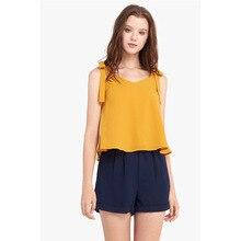 Crop Top Women Summer Camis 2019 New Fashion Casual Chiffon Shirt Yellow Simple Bow Sleeveless Slim Short haut femme Camis топ brand new camis