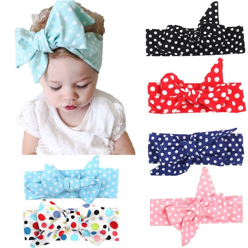 Fashion Polka Dot Turban Knot Baby Girls Headband For