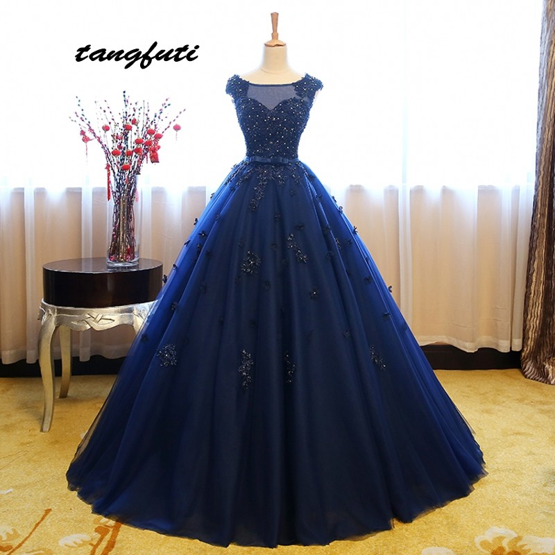 Blue Puffy Quinceanera Dresses Ball Gown Long Tulle Sweet 16 Princess Flower Prom Dresses Gown for 15 Years vestido de 15 anos