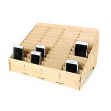 Wooden mobile phone management storage box creative desktop office meeting finishing grid multi cell phone rack shop display bag