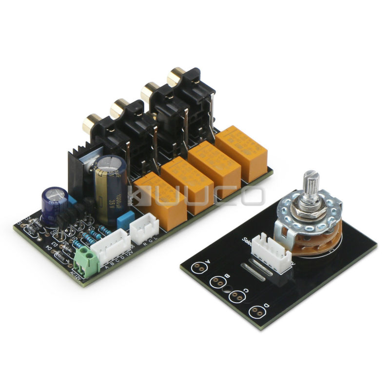 4 Channel Audio Switching Board/Audio Input signal Selector Relay Board/AC 12 ~ 15V Signal Switching Amplifier Board + RCA band switching signal switch 3 knives 4 files