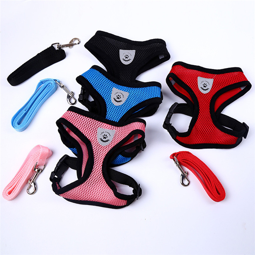 Adjustable Ling Chong Pet Dog Leads Chest Straps Small Pet Basic Halter Harnesses For Dog Pet 4 Colorful S~L Dropshipping