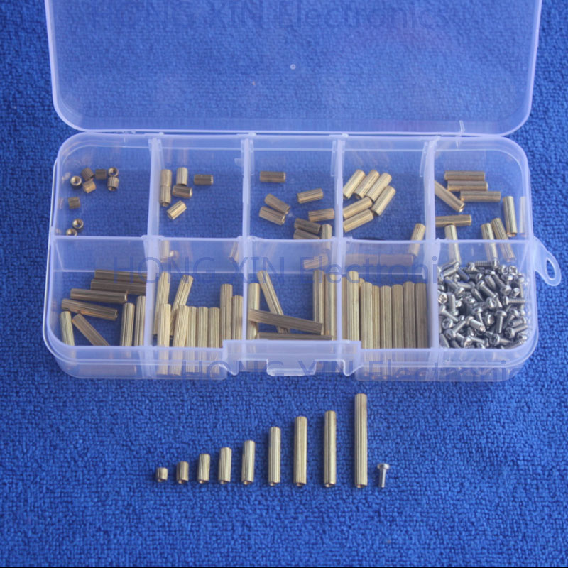 270Pcs/M2 PCB Threaded Female Brass Standoff Spacer Board Screws Nut Assortment Kit Set