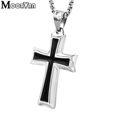 Moorvan cross pendant necklace,cool stainless steel men christian necklaces jesus crucifix chain trendy jewelry for man VP058