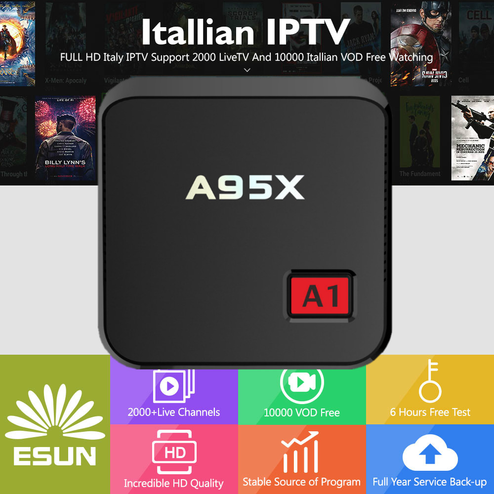 1 Year Italy IPTV Europe IPTV in New box A95X A1 Android 6.0 TV Box Set Top Box Media player 2000 livetv 20000 Italy VOD android italy iptv box x96 mini europe iptv 10000 italy vod 2g16g android 7 1 tv box media player set top box v88 french iptv