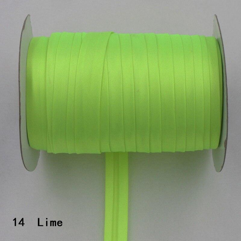 """100 ярд полиэстер 5/""""(15 мм) атласная косая лента косая Привязка сплошной цвет для пошив одежды «сделай сам» и обрезки - Цвет: 14    lime"""