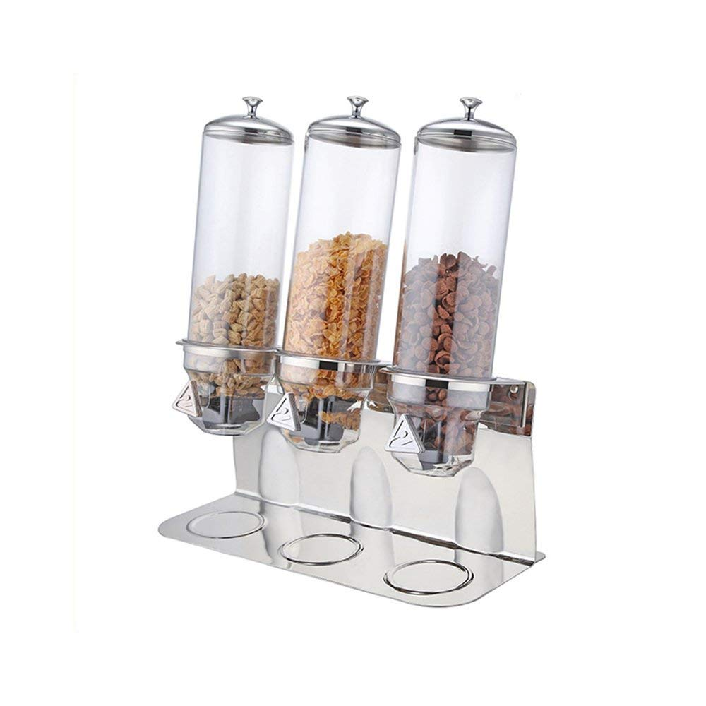 ITOP Stainless Steel Base 1-3 Head Cereal Dispenser, Dry Food Dispenser Storage Box Kitchen Food Grain Rice Container