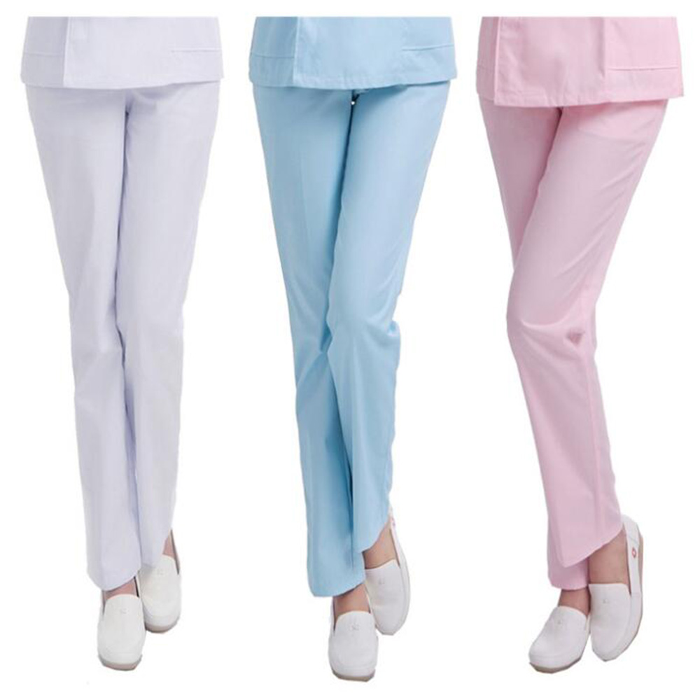 Nurses Thicken Medical Services Pants White Pink Blue Elastic Waist Work Pants Nurses Wear Large Size Doctors Work Clothes
