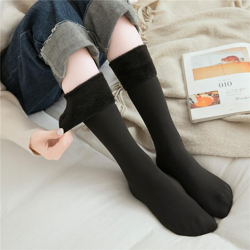 CHRLEISURE Snow Socks Women Plus Velvet Solid Warm Long Sock Elastic Straight Force Thick Solid Socks Female