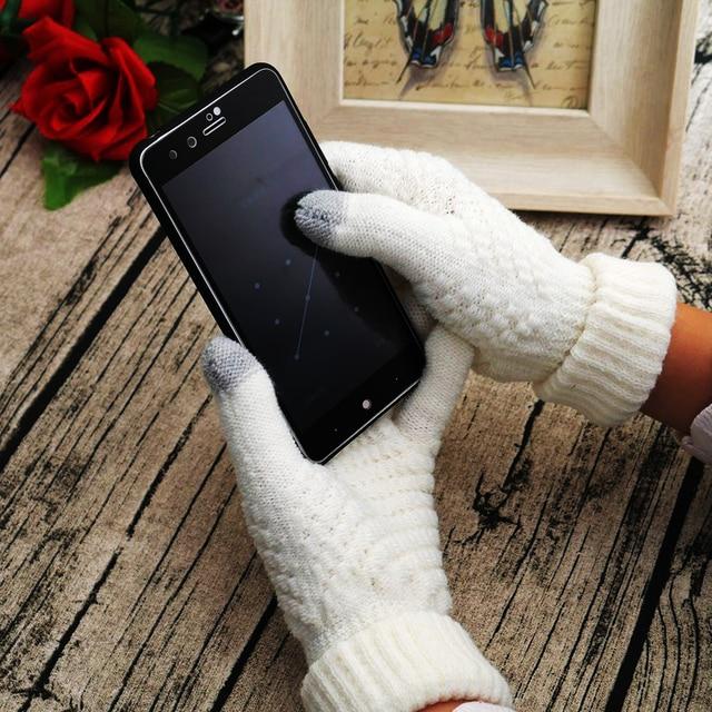 2018 novas mulheres inverno quente luvas de malha dedo cheio homem tela sensível ao toque tricô gancho flor luvas telefone toque um tamanho luvas
