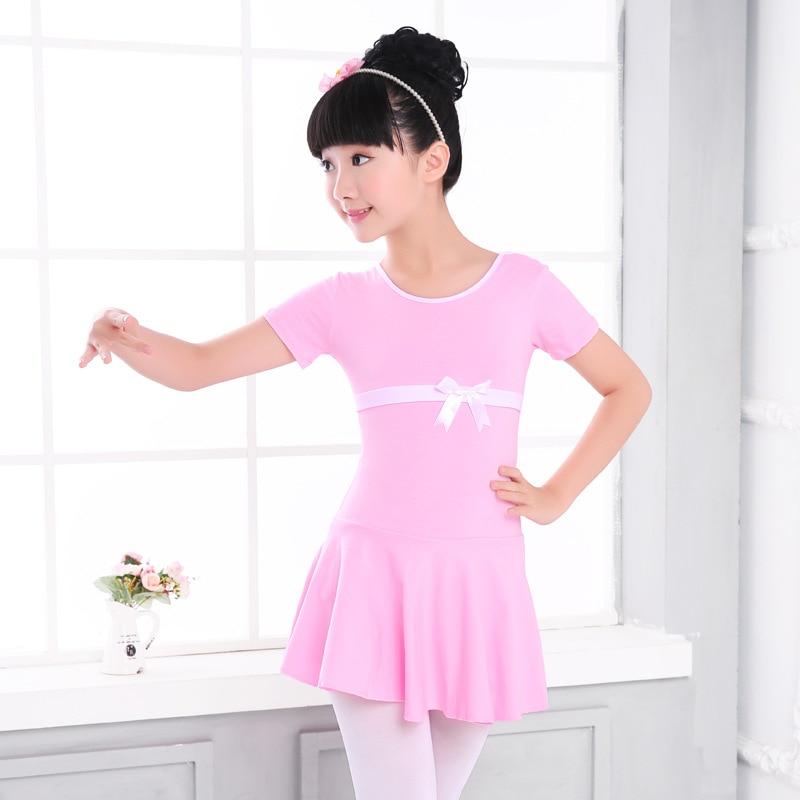 3-17Y Girls Cotton Ballet Practice Dress Pink/Blue Summer Ballet Leotard Dance Dress For Children Ballerina Clothes Dancewear