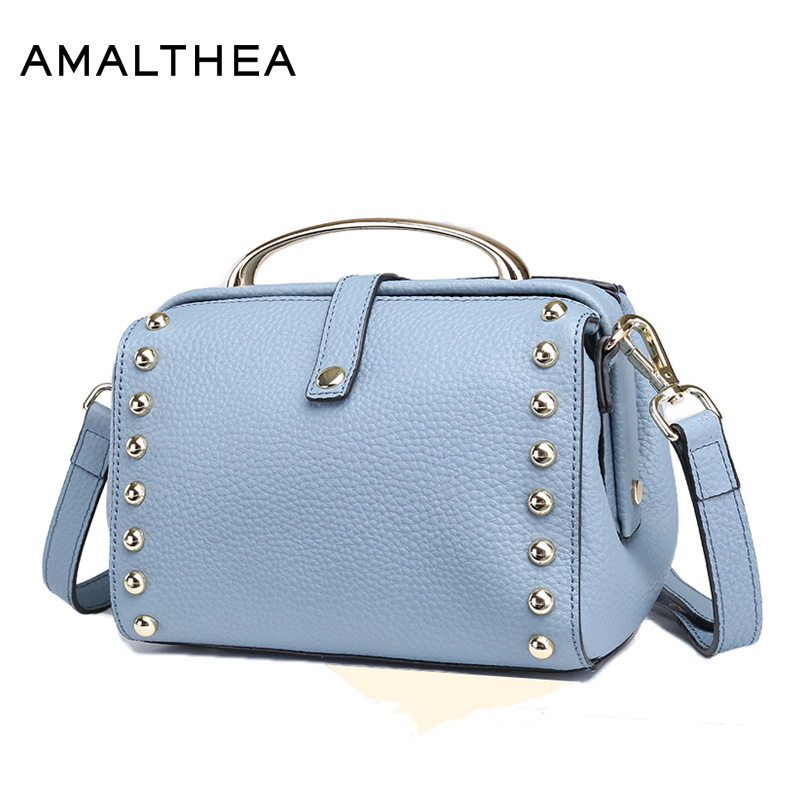 AMALTHEA Brand Fashion Handbags 2017 Women Bags Rivet Crossbody Bags For Women Shoulder Bag With Solid Color Tote Bag AMAS007 fashionable women s tote bag with embossing and rivet design
