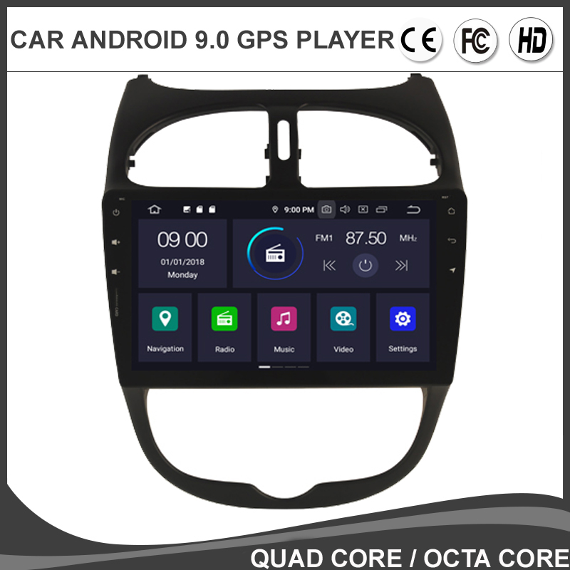 9' IPS Android 9.0 Octa Core Car DVD GPS Player For <font><b>PEUGEOT</b></font> <font><b>206</b></font> Multimedia Radio Navigation headunit SD DVR TPMS USB DAB BT 4G image