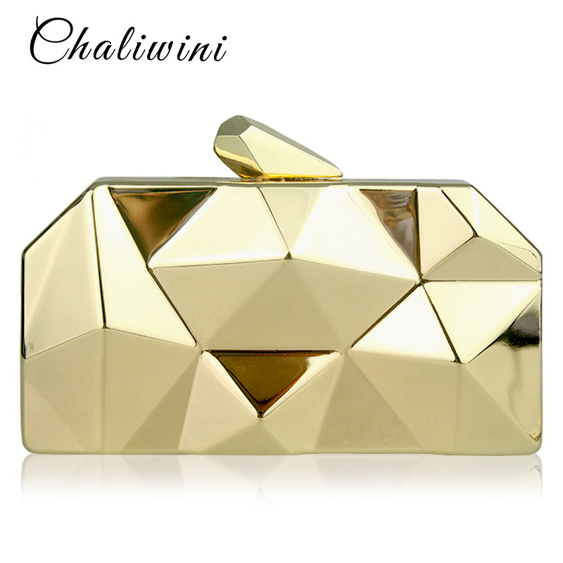 Chaliwini Top Quality Black Hexagon Female Metal Purses Luxury Silver Box Handbags Women Gold Designer Evening Bags 3 Colors