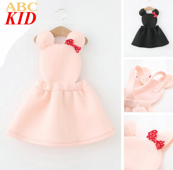 2-6Y Girls Cartoon Belt Dress Cute Design Overall Dress With Bow Children Clothes Pink Black KC110