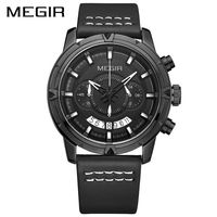 2017 חם MEGIR יוקרה ספורט הגברים קוורץ שעונים הכרונוגרף שעונים גברים שעון יד אופנה R עם רצועת עור Relogio Masculino