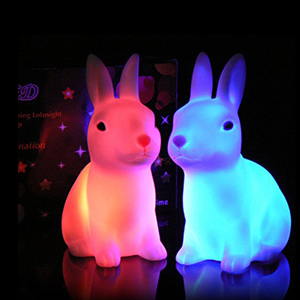 1 Pieces Colorful Rabbit Lamp Night Light Changing Colors